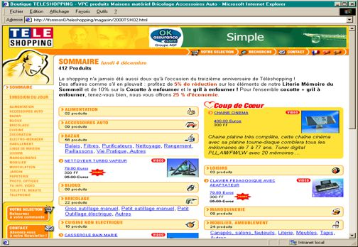 TF1 - Web - Ecommerce - Home Page TÉLÉSHOPPING (2001)